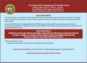 Commissioner's Food Safety Forum flyer with details